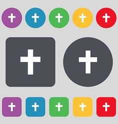 religious cross Christian icon sign A set of 12 vector image