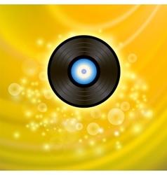 Retro Vinyl Disc on Yellow Background vector