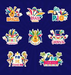 rio logo brazil festival colored badges muzical vector image