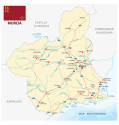 road map spanish region murcia with flag vector image