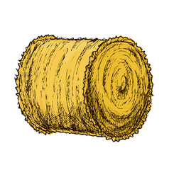 Roll of hay sketch vector
