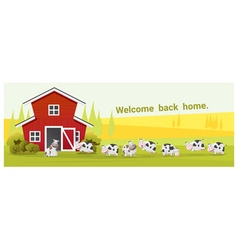 Rural landscape and farm animal background with vector