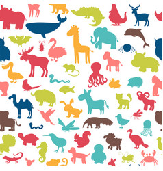 Seamless pattern with colored animals silhouettes vector