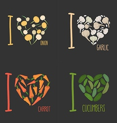 Set I love vegetables carrots and garlic Symbol of vector