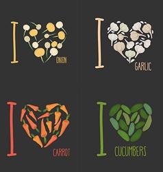 Set I love vegetables carrots and garlic Symbol of vector image