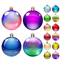 Set of opaque colored Christmas balls vector image