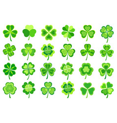 set of stylized green patricks leaf clover vector image