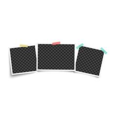 set three vintage blank photo frames vector image