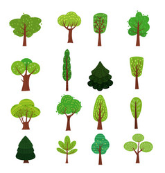 set trees forest green color stylized cute vector image