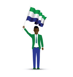sierra leone flag waving man and woman vector image