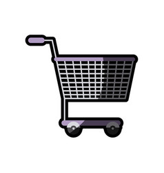 Silhouette color with shopping cart purple with vector