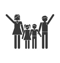 Silhouette family together members traditional vector