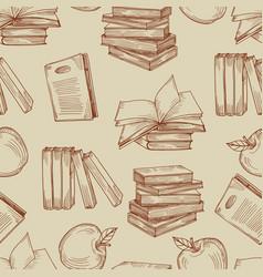 sketch vintage books seamless pattern vector image