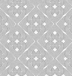 Slim gray hatched hearts forming rectangles vector