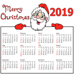 stylish calendar withmuscular santa claus for vector image