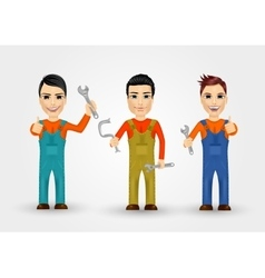 Three young plumbers dressed in work clothes vector
