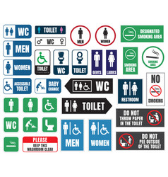 toilet icons and signs wc labels vector image