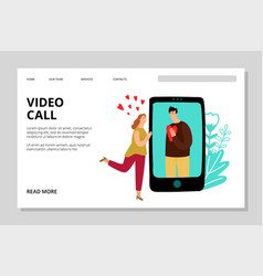 video call landing page vector image