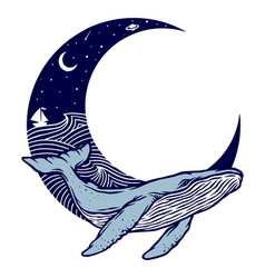 Whale and moon vector