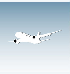 white airplane flying on blue background vector image