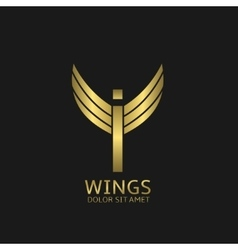 Wings I letter logo vector image