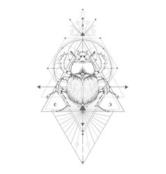 With hand drawn scarab and sacred geometric vector