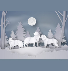 Wolf in forest with snow and fullmoon vector