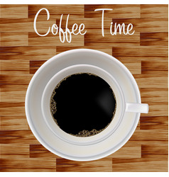 wooden background stylish coffee cup vector image