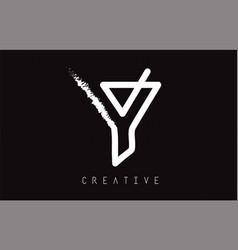 y monogram letter logo design brush paint stroke vector image