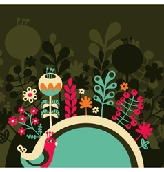 Half round banner with flowers vector image