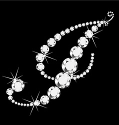 I italic letter with diamonds vector image