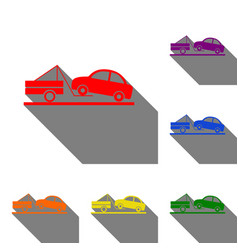 tow truck sign set of red orange yellow green vector image