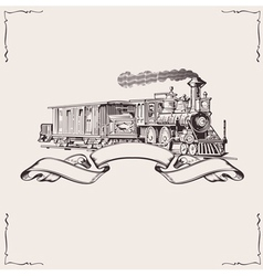 Vintage locomotive banner vector