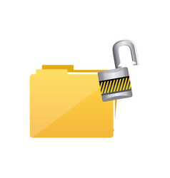 yellow file and open lock icon vector image