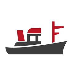 black boat emblem vector image vector image