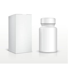 Blank medicine bottle and package box vector image