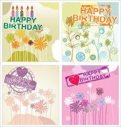Happy birthday background - floral set vector image