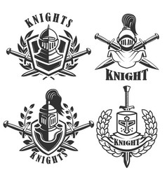 set of the emblems with knights helmets and vector image