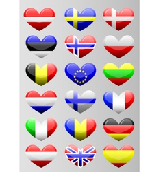 european flags heart vector image vector image