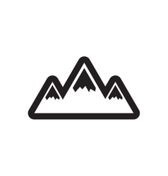 Flat icon in black and white style mountains vector image vector image