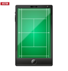 Smartphone with a tennis field on the screen vector image vector image