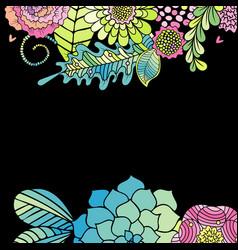floral frame succulent rose leaves card vector image vector image