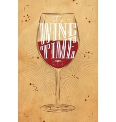 Poster wine time kraft vector image vector image