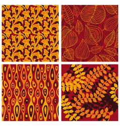 Set of seamless patterns with floral elements vector image vector image