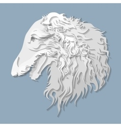 Side portrait of Russian borzoi in paper cut style vector image