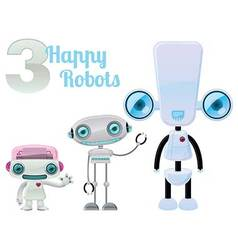 Three Happy Robots vector image vector image
