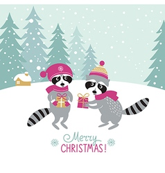 two cute raccoons with a gifts vector image vector image