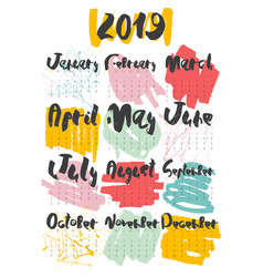 2019 calendar hand lettering with doodle on white vector image