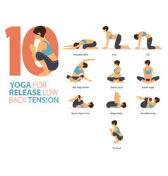 8 yoga poses for release low back tension concept vector