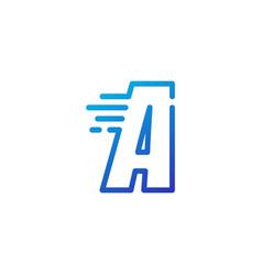 A letter dash fast quick digital mark line vector